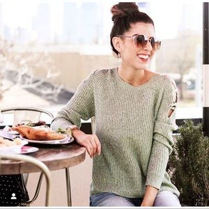 NEW YORK & CO • LACE UP RIBBED KNIT SWEATER NWT
